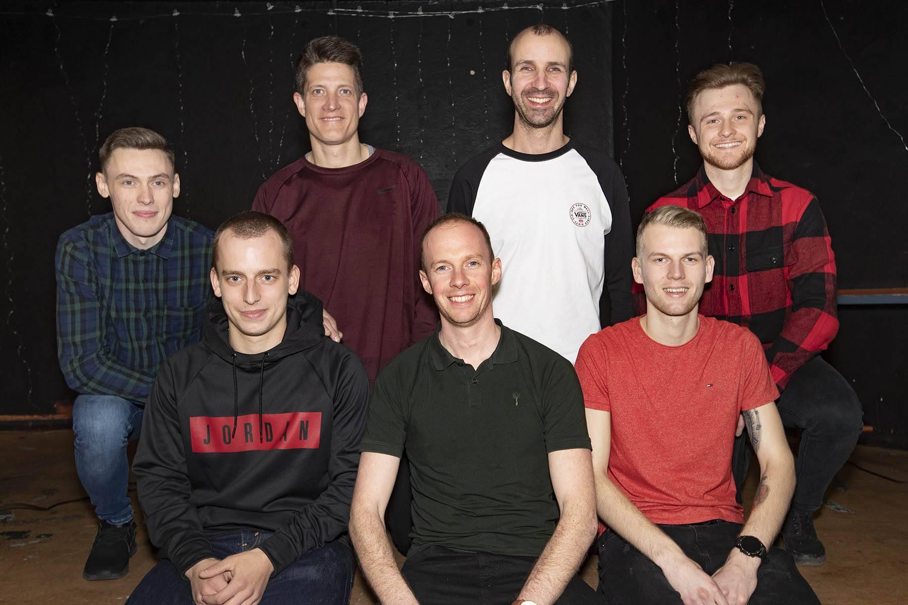 The 2020 Newcastle Diamonds. L-R: Max Clegg, Ondrej Smetana, Claus Vissing, James Wright, Matthew Wethers, Nick Skorja, Connor Mountain